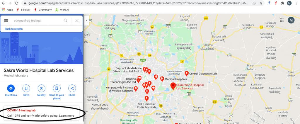COVID Testing Centers Using Google Maps
